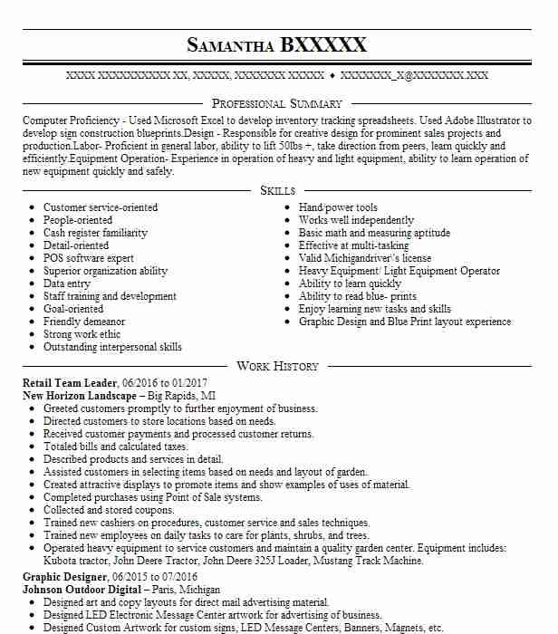 retail team leader resume sample