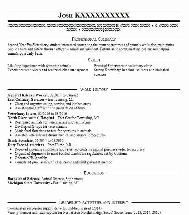 general kitchen worker - Animal Science Student Resume