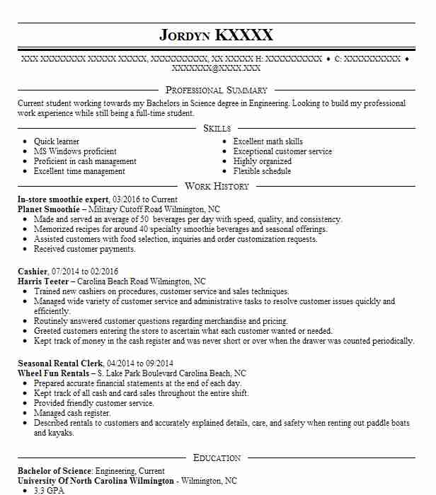 cashier and smoothie maker resume example tropical