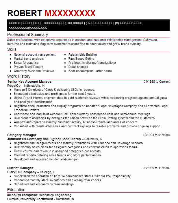 senior key account manager resume example monster tool