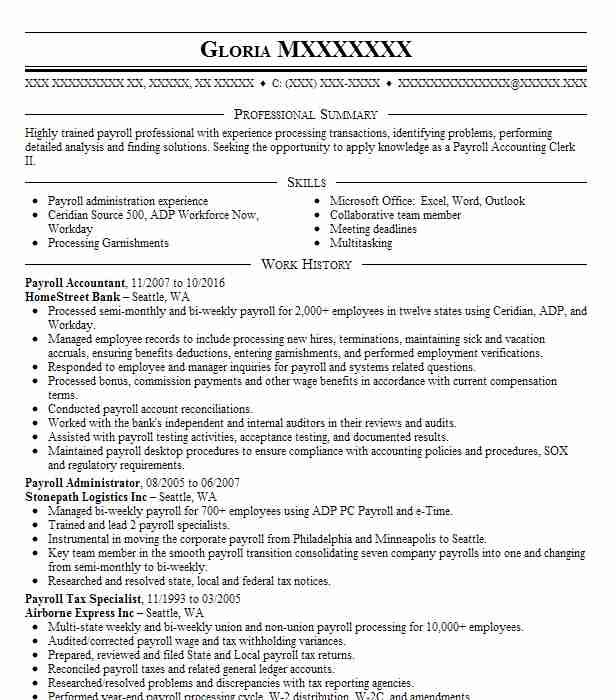 Payroll Accountant Resume Sample