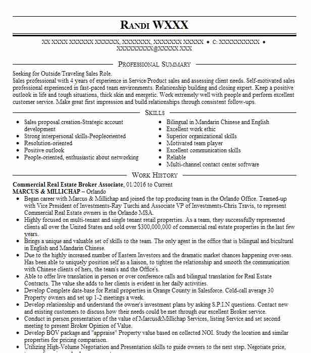 commercial real estate associate resume example cre