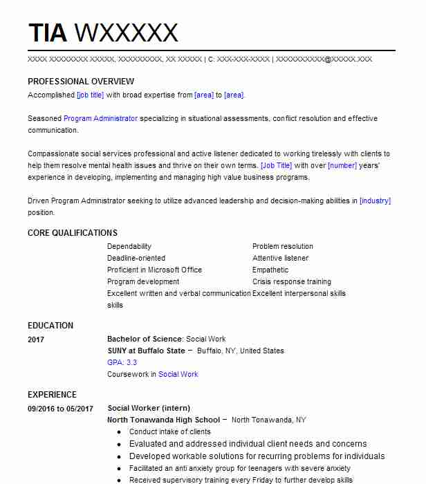 Social Worker (Intern) Resume Example (North Tonawanda High School ...