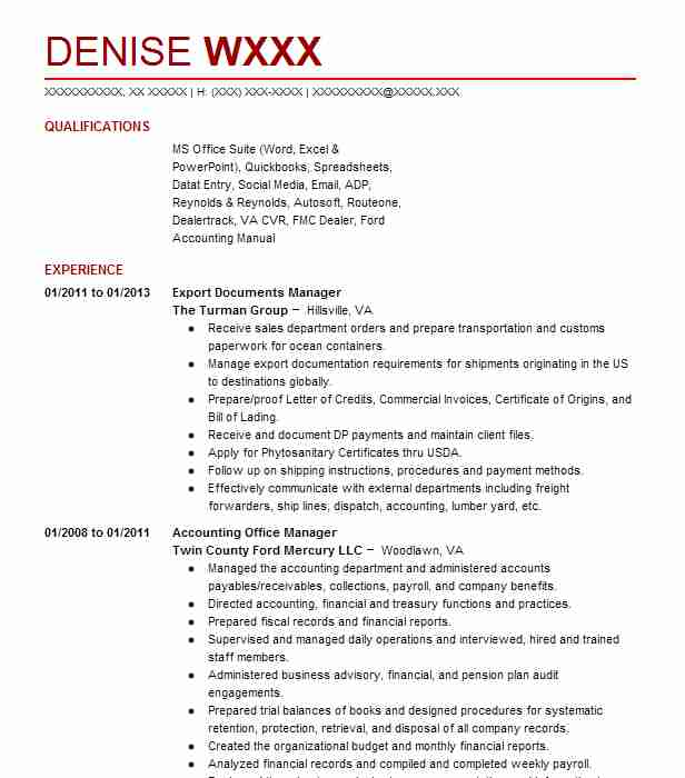 EXPORT SALES MANAGER Resume Example JINTANA INTERTRADE CO