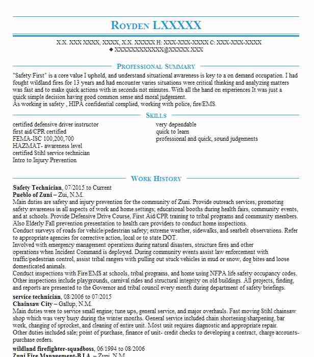Free Sample Resume For Electronics Technician: Safety Technician Resume Sample