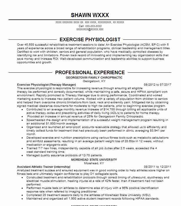 exercise physiologist resume sample