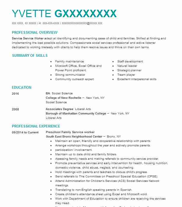 family service worker resume example essex county division of welfare