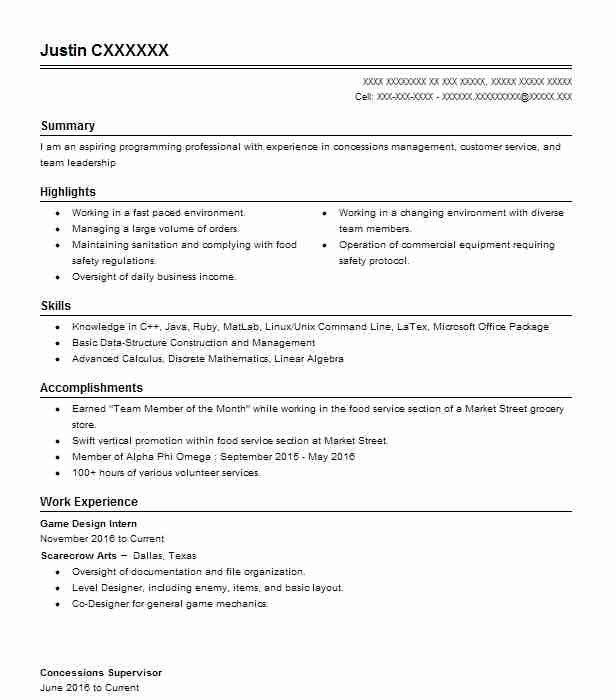 Game Design Intern Resume Example Fun To 11