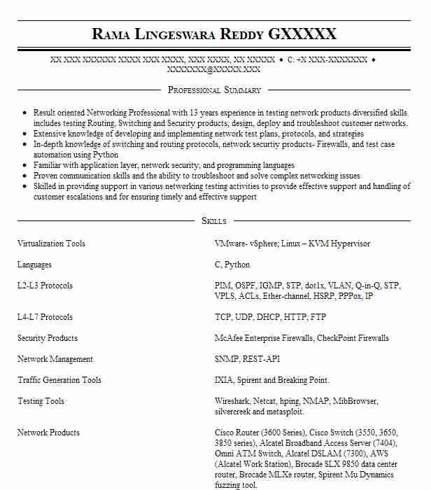 Network Test Engineer Resume Sample