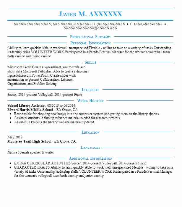 School Library Assistant Resume Sample | LiveCareer