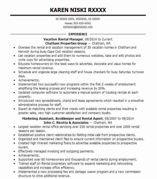 airbnb host  vacation rental manager  owner resume example
