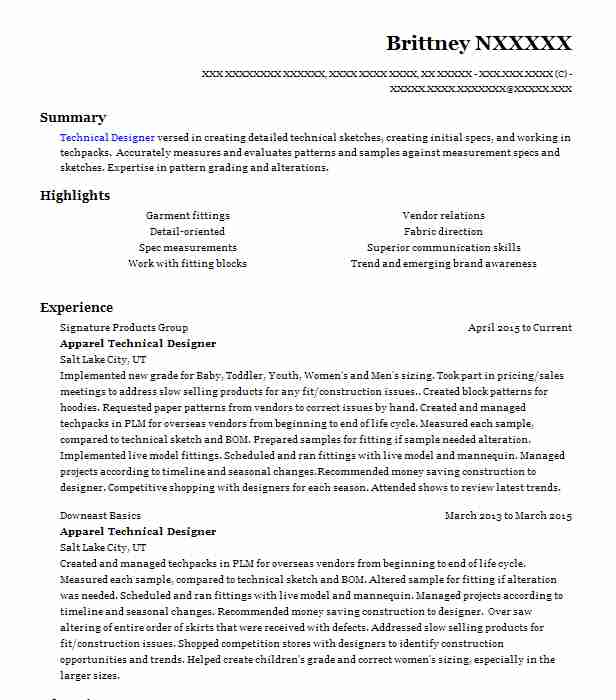apparel technical designer resume example alfred angelo