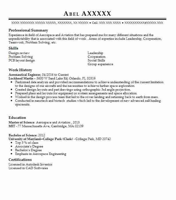 aeronautical engineer resume sample