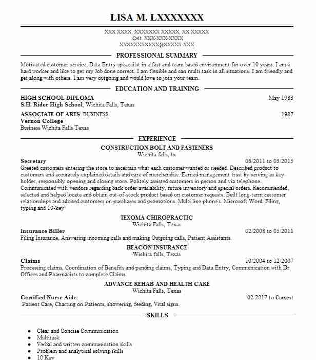 best secretary resume example