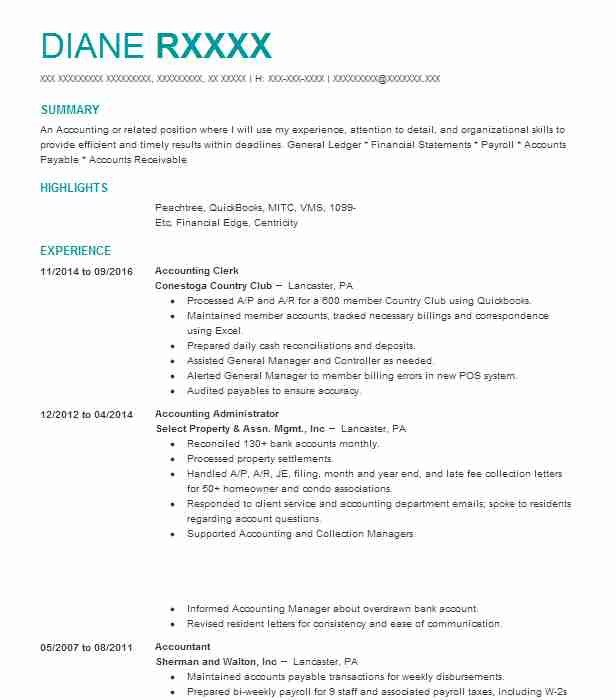 Accounting Clerk Resume Objectives Sample Livecareer