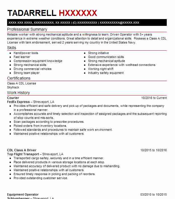 courier resume example fedex express