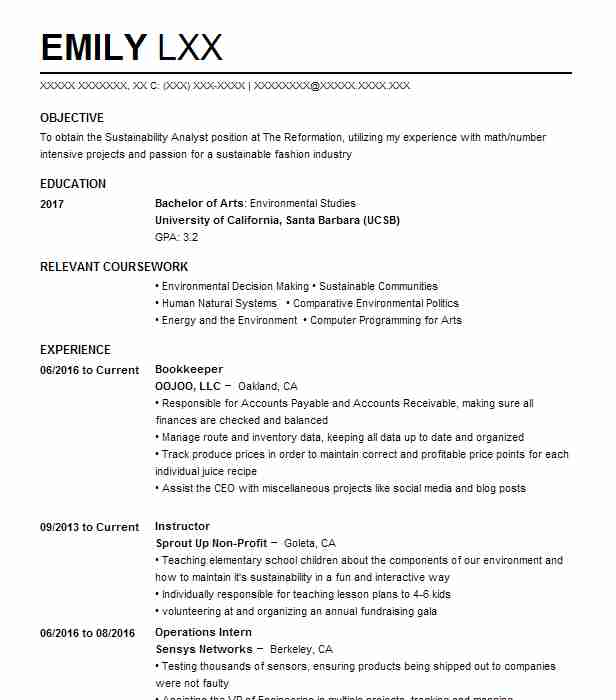 bookkeeper - Resume Environmental Science