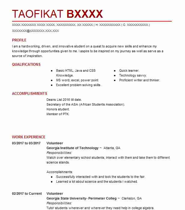 volunteer resume sample