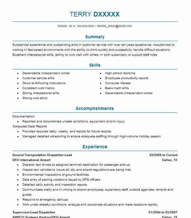 1215 Dispatch Resume Examples in Texas | LiveCareer