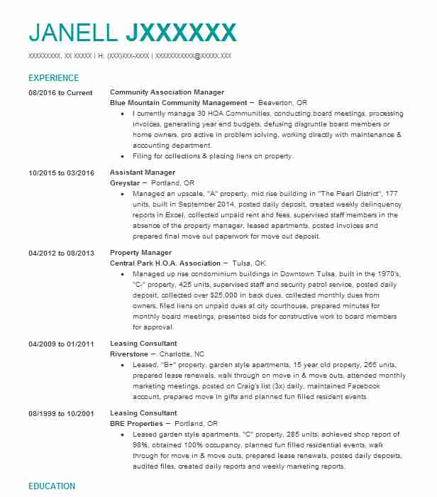 Nice Greystar Property Management Resume Motif - Best Resume ...