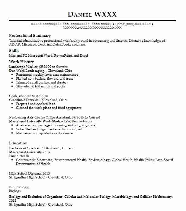 landscape worker resume sample