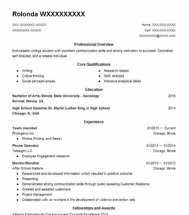 find resume examples in normal  il