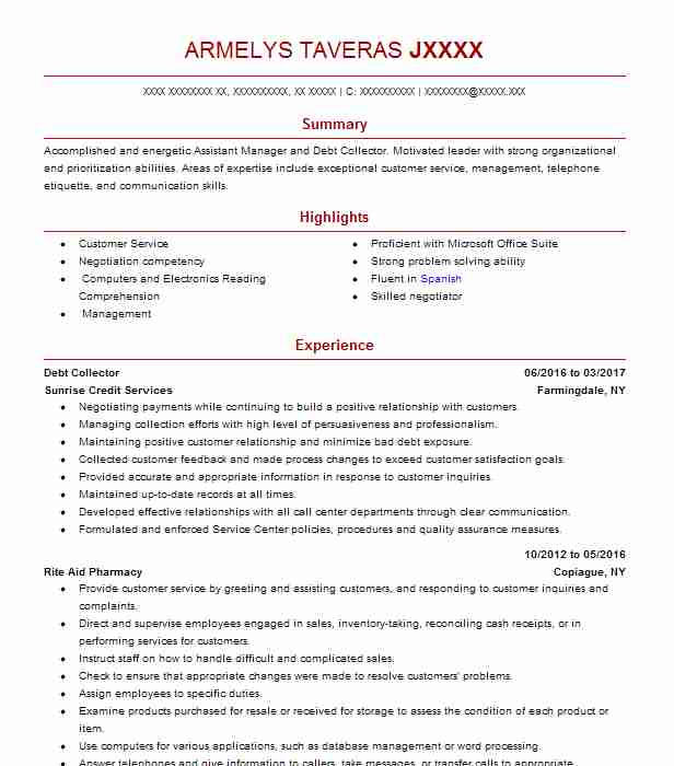 resume for debt collector - Toha
