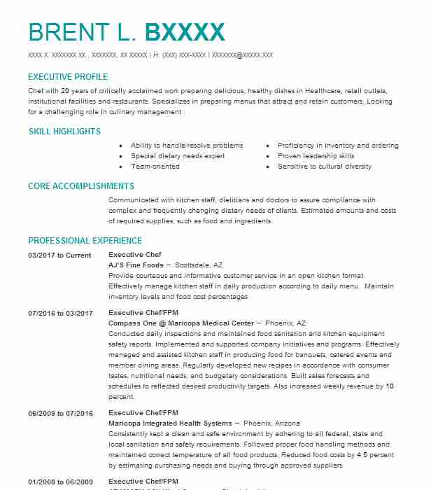 consultantexecutive chef resume example the colonnades