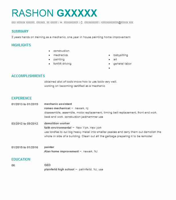 Mechanic Assistant Resume Sample Assistant Resumes