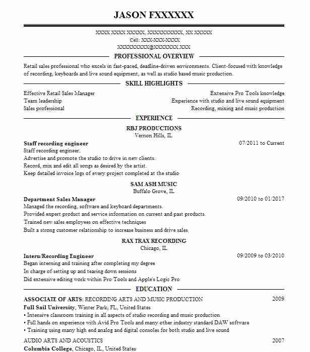 staff recording engineer - Recording Engineer Sample Resume