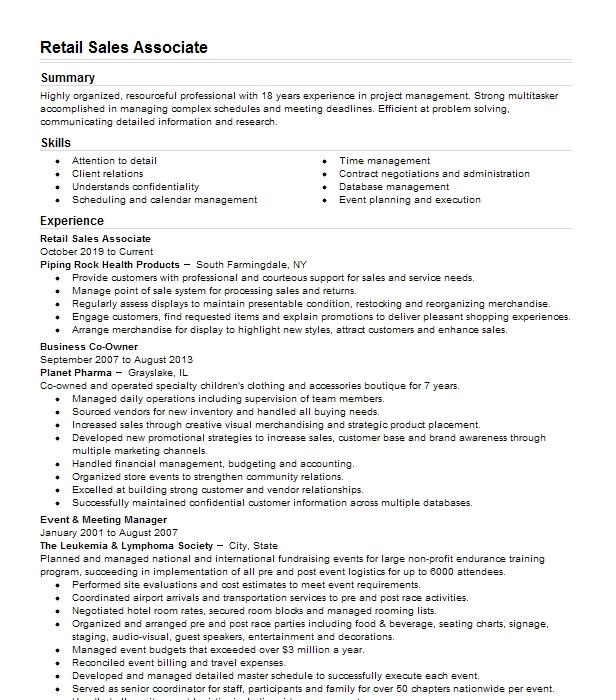 retail sales associate and event host resume example