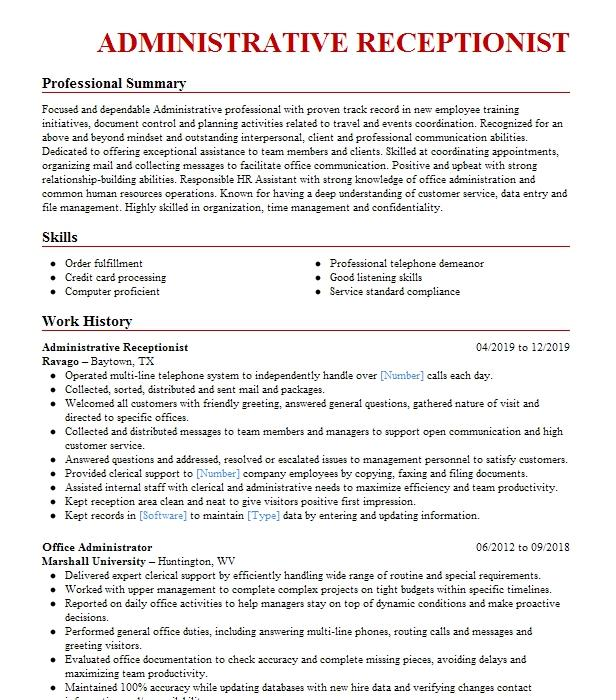 administrative specialist  back up receptionist resume