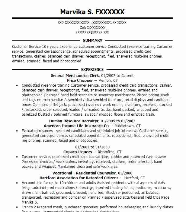 General Merchandise Clerk Resume Sample | Clerk Resumes | LiveCareer