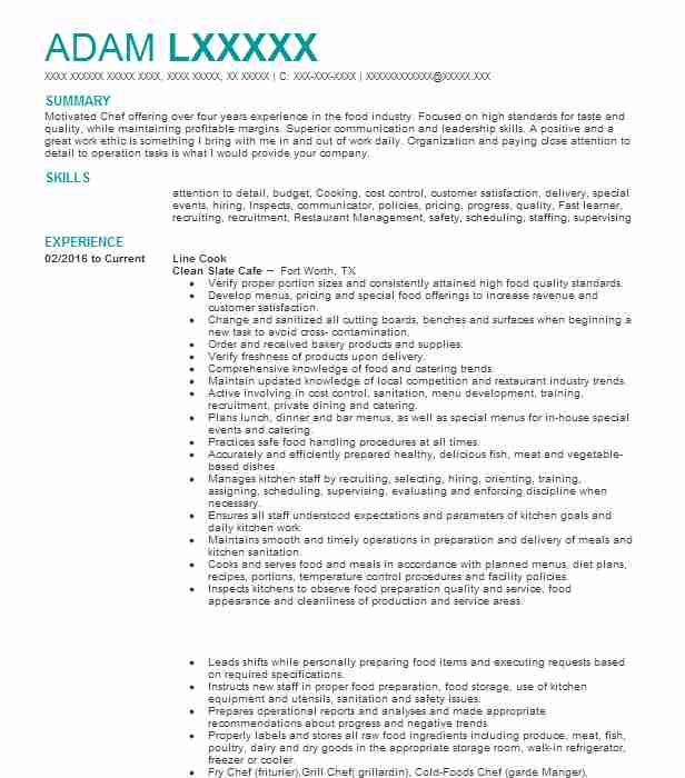 Line Cook Resume Objectives Resume Sample