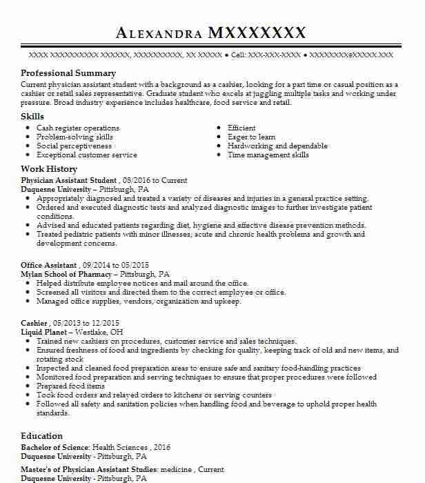 physician assistant student resume example towson