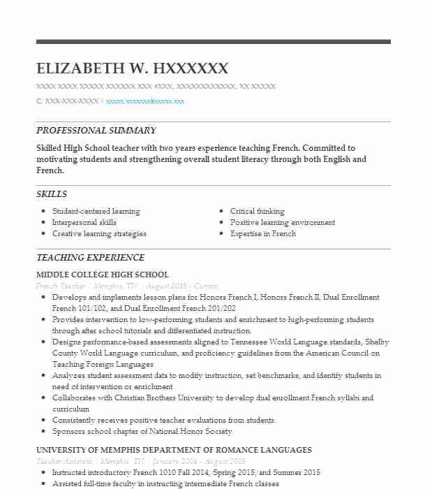 french teacher resume sample