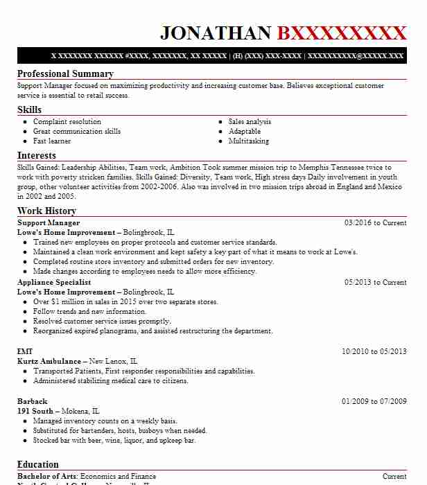 Overnight Support Manager Resume Example Wal Mart