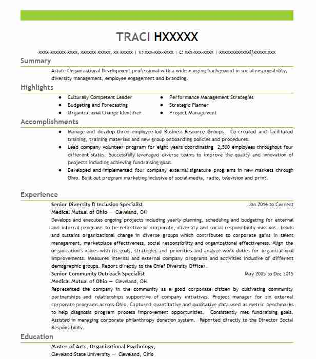 diversity and inclusion specialist  gs 0301 13  resume
