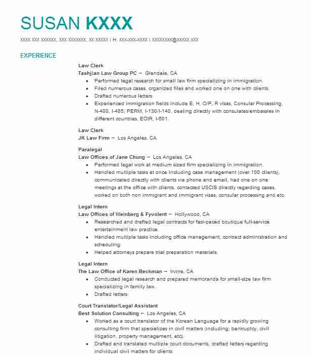 District attorney law clerk resume