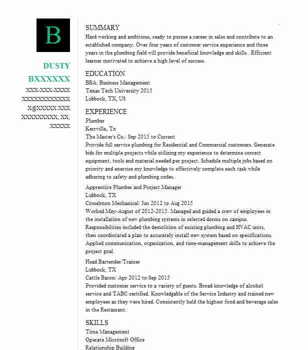 plumber resume sample resumes misc livecareer