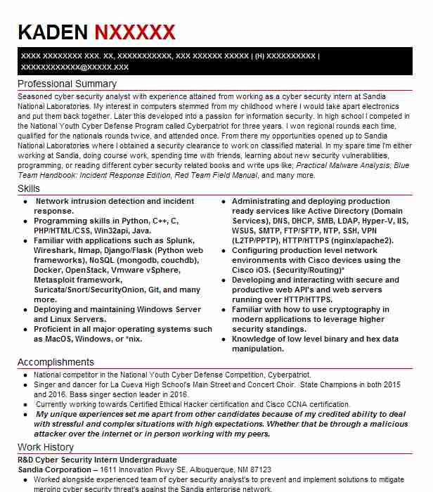 Cyber Security Analyst Intern Resume Example Technical