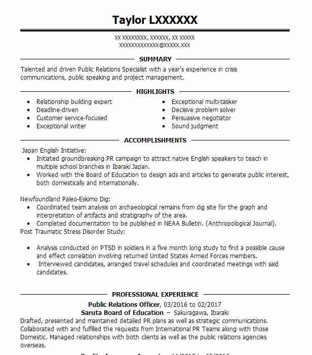 public relations officer resume sample