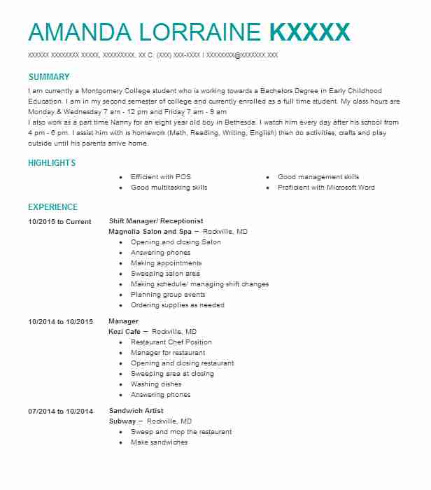 find resume examples in rockville  md