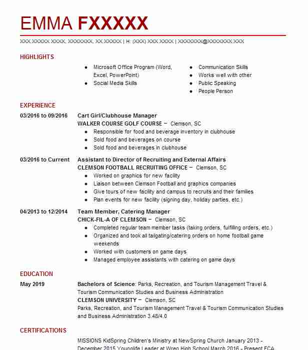 Cart Girl/Clubhouse Manager Resume Example (WALKER COURSE GOLF COURSE)    Clemson, South Carolina