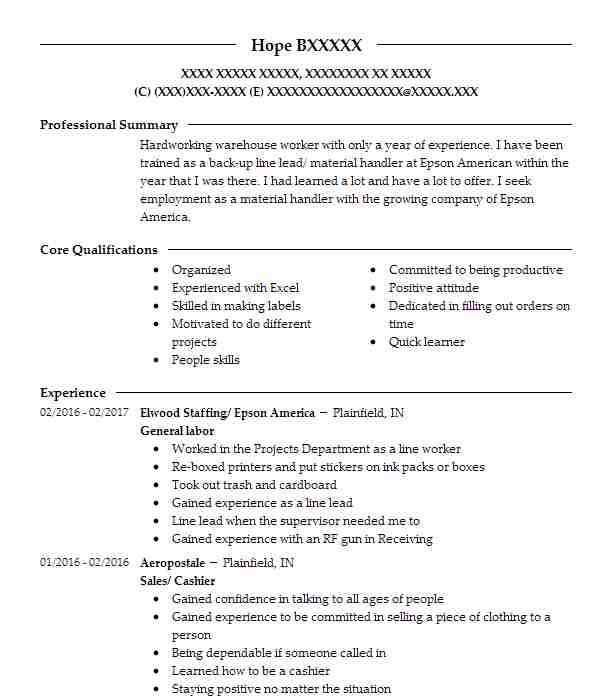 Best General Labor Resume Example Livecareer
