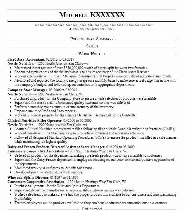 fixed asset accountant resume sample