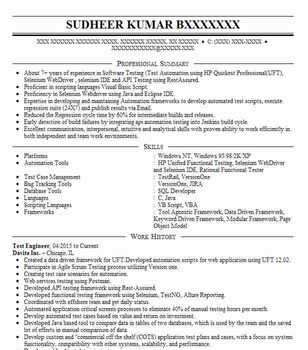 Test Engineer Resume Sample | Engineering Resumes | LiveCareer
