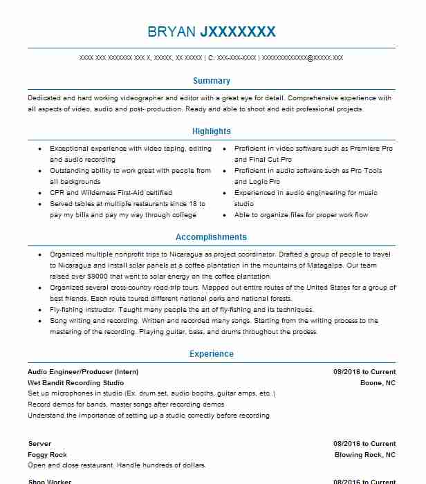studio recording engineer sample resume audio engineer resume - Recording Engineer Sample Resume