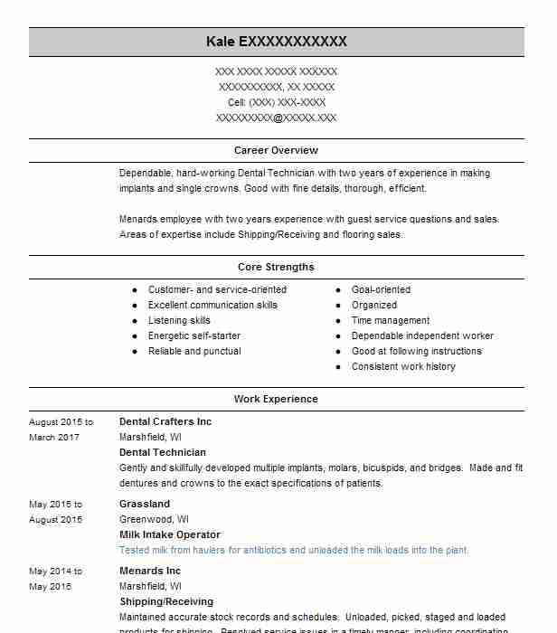 dental technician resume sample
