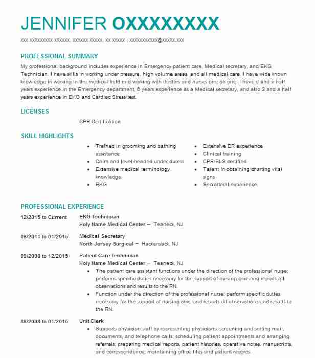 ekg technician resume sample resumes misc livecareer